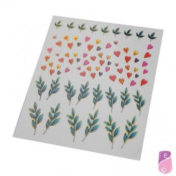 Autocolantes de unhas com folhas verdes e corações