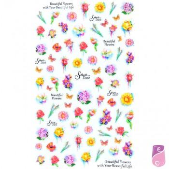 Autocolantes para unhas de flores e borboletas 12x7cm
