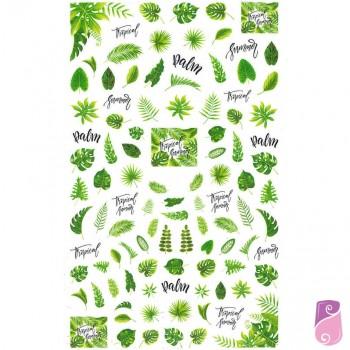Sticker - Autocolantes para unhas de folhas verdes 12x7cm